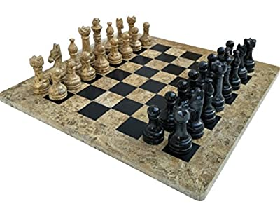 Classic New Board Game Ideas Coral and Black Marble Chess Set – Handmade Decor Collection Adult Board Game – Ideal for Top Home Decor, Table Decor, Family Board Games – Non Checker Board Game