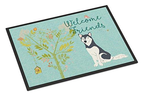 Caroline's Treasures Welcome Friends Siberian Husky Indoor Or Outdoor Doormat, 18hx27w, Multicolor