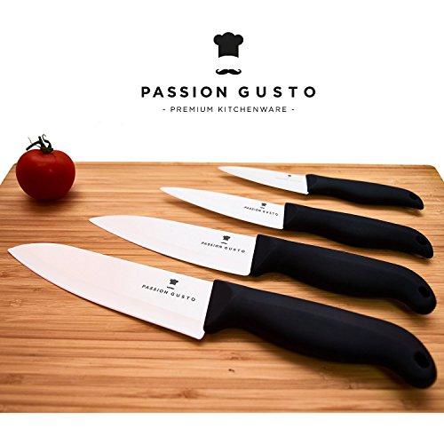 Keramikmesser Set schwarz weiß 4 teilig - CATANA Series von Passion Gusto - Premium Kitchenware - Vier hochwertige Küchenmesser