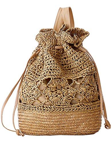 Women's Beach Backpack Vintage Straw Weave Travel Shoulder Bag Brown