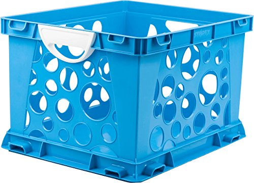 "Storex Premium File Crate with Handles, 17.25 x 14.25 x 10.5"", Classroom Blue, Case of 3 (61455U03C)"