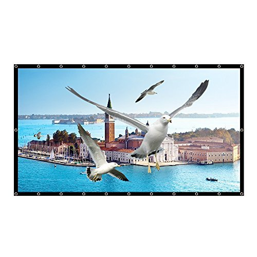 120 Inch Projector Screen Foldable PVC Material HD Portable Projection Movies Screen 16 : 9 for Indoor and Outdoor Home Theater (1.1 Gain, Easy to Clean, Waterproof)