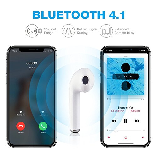 Large Product Image of Bluetooth Earbuds, Wireless Headphones Headsets Stereo In-Ear Earpieces Earphones With Noise Canceling Microphone for iPhone X 8 8plus 7 7plus 6S Samsung Galaxy S7 S8 IOS Android (White)