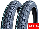 SET OF TWO: Tire 2.50 - 16 (P43) Front/Rear Motorcycle Dual Sport On/Off Road