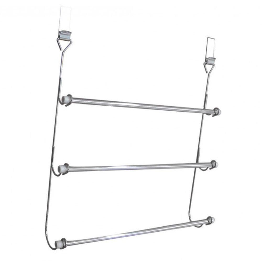 3 Tier Over Door Towel Rail Rack Chrome Hanger Holder Bathroom Organizer Storage by E Trade