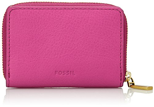 Fossil Mini Zip, Women's Card Case, Pink (Hot Pink), 1.91x7.01x10.16 cm (B x H T) ()