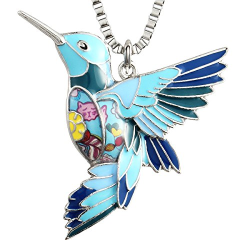 Luckeyui Blue Hummingbird Necklace Jewelry for Women Unique Bird Charm Pendants Birthday - Unique Pendant Charm
