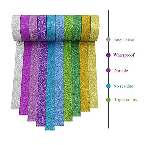 Washi Tape Decorative DIY Tape Washi Rainbow Sticker Masking Paper,Holiday Decorations Fun DIY Arts Supplies Kit for Little Kids, Toddlers & Adults
