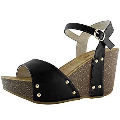DailyShoes Women's Slide on Wedge Comfort Chunky Platform Open Toe Casual Sandals Buckle Shoes, Black PU, 5 B(M) US
