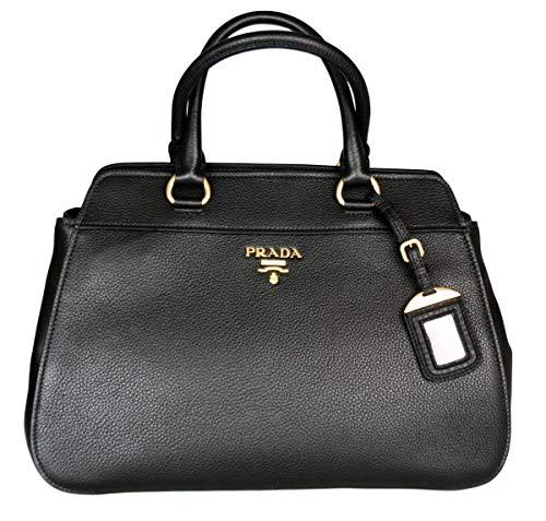 (Prada Women's 1BA076 Black Leather Shoulder Bag)