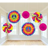 Amscan Groovy 60's Party Swirly Tie-Dye Printed Paper Fan Decorations (6 Piece), Multi Color, 12.9 x 11""