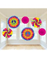"""Amscan Groovy 60's Party Swirly Tie-Dye Printed Paper Fan Decorations (6 Piece), Multi Color, 12.9 x 11"""""""