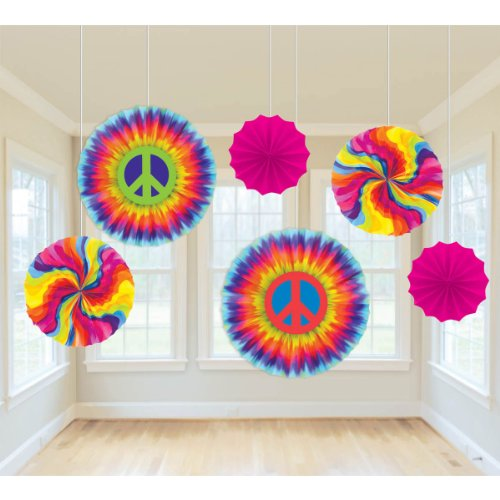 (Amscan Groovy 60s Party Swirly Tie-Dye Printed Paper Fan Decorations, 6 Pieces, Made from Paper, Multi Color,  2 - 8