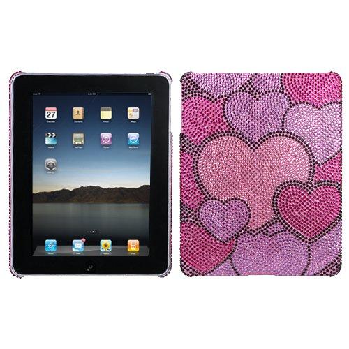 Hard Plastic Snap on Cover Fits Apple iPad Cloudy Hearts Diamante Full Diamond/Rhinestone