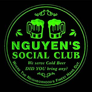 4x ccpz1229-g NGUYEN'S Social Club Bar Beer 3D Engraved Drink Coasters