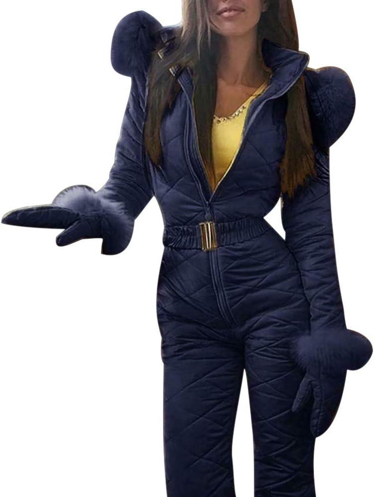Ist die Gr/ö/ße zu klein, Wird empfohlen, eine Nummer gr/ö/ßer zu w/ählen Blau eamqrkt Damen Winter Warm Schneeanzug Au/ßen Sports Hose Ski Anzug Wasserfest Overall 2XL