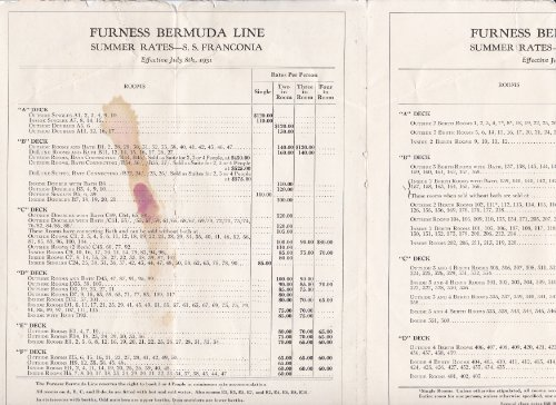 Furness Bermuda Line, Rates and Sailing, S.S. Franconia and S.S. Veendam