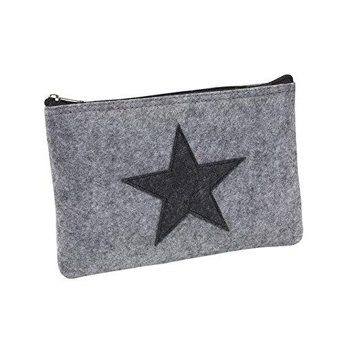 Elegante Banktasche Utensilien-Tasche aus Filz mit Reißverschluss (M mit Stern)