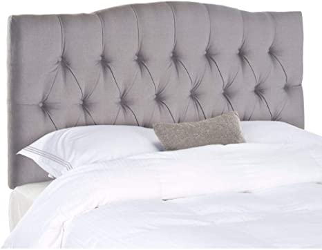 Amazon Com Safavieh Axel Arctic Grey Upholstered Tufted Headboard Queen