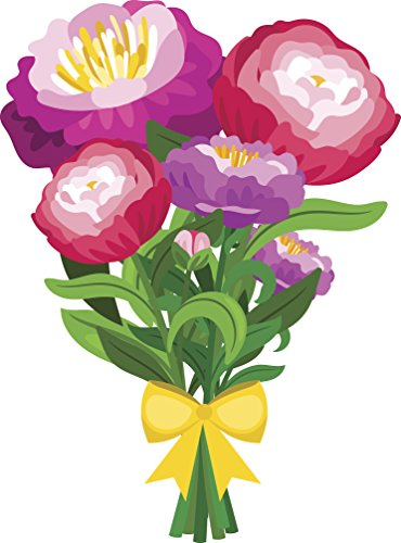 Pretty Watercolor Art Flower Bouquet - Peonies Vinyl Decal Sticker (12