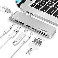 USB C Hub, ANBES USB C Adapter for MacBook Pro/USB-C Port/4K/SD Card Reader/2xUSB 3.0 Type-A Ports