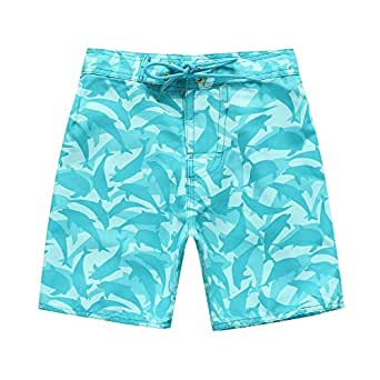 Boy Hawaiian Swimwear Board Shorts with Tie in Blue White with Dolphin Print 2 Year Old