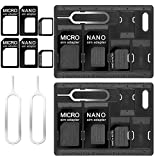 CKANDAY 2 Packs SIM Card Holders with Tray Opener Pins, Card Storage Tool Set for Standard Micro Nano Micro-SD Memory Cards, with 3 Card Adapters and 1 Eject Pins - Black