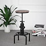 Vintage Bar Stool Industrial design Wood Adjustable Seat Retro Swivel 360 Chair