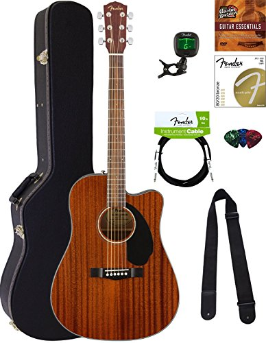 Fender CD-60SCE Dreadnought Acoustic-Electric Guitar – All Mahogany Bundle with Hard Case, Tuner, Strap, Strings, Picks, Austin Bazaar Instructional DVD, and Polishing Cloth
