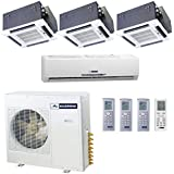 Blueridge 21 SEER Four Zone 42,000 BTUDuctless Mini Split Heat Pump (1) 9k wall (2) 12k ceiling (1) 18k ceiling units
