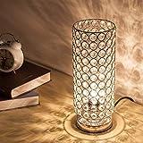 EFGS Crystal Table Lamp, Modern Style K9 Crystal Desk Lamp, 28 cm High Elegant Crystal Light, Compact Design Lamps Suitable for Home, Bedroom, Living Room, Dining Room (Sliver)