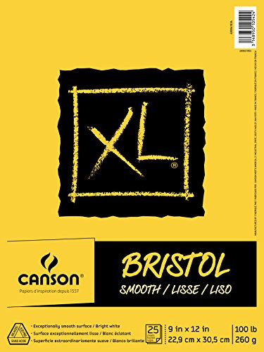 Canson XL Series Bristol Pad, Heavyweight Paper for Ink, Marker or Pencil, Smooth Finish, Fold Over, 100 Pound, 9 x 12 Inch, Bright White, 25 Sheets ()