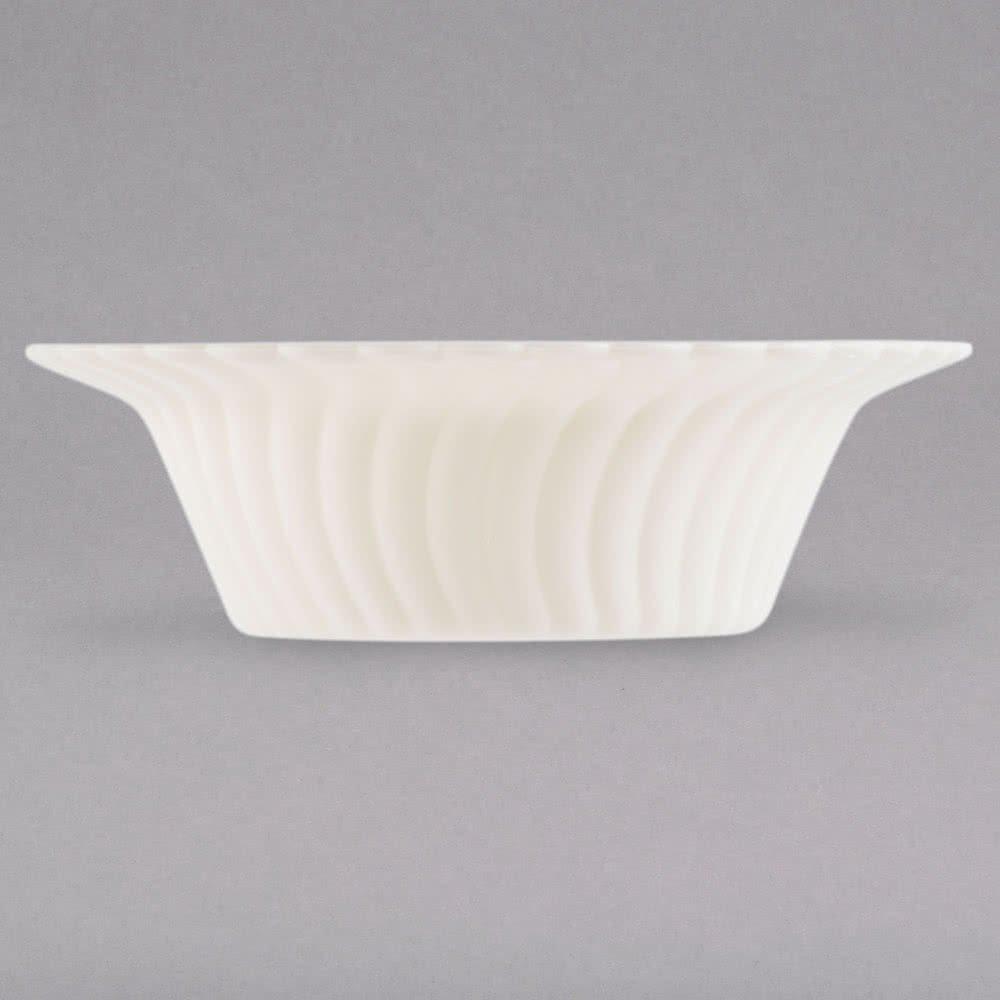 5oz - Heavy Duty Disposable//Reusable Plastic Bone//Ivory Pack of 18 140ml Elegant Shell Edged China-Like Dessert//Party Bowls