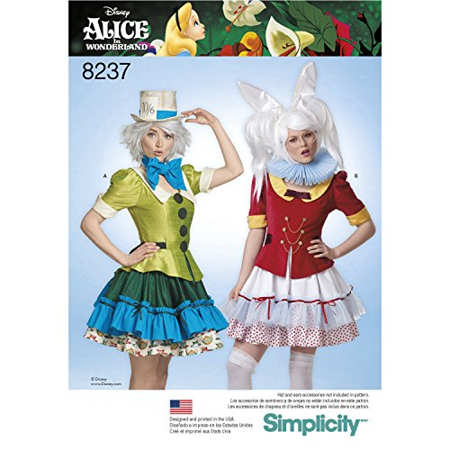 Simplicity Creative Patterns Simplicity Pattern 8237 Misses' Alice in Wonderland Cosplay Costumes Size: H5 (6-8-10-12-14) -