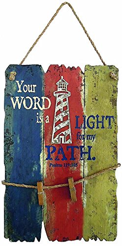 Divinity Boutique 102453 Wall Art - Lighthouse - Your Word is A Light For My Path - 11.25 x 18 - Outlet Mall Lighthouse