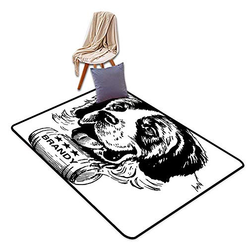 Large Outdoor Indoor Rubber Doormat Man Cave Decor Sketch of Saint Bernard Rolling a Keg of Brandy Whiskey Stars Retro W5'xL8' Suitable for - Star 5 Brandy