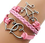 Handmade Heart to Heart Bicycle Charm Friendship Gift Leather Bracelet for Girl - Pink