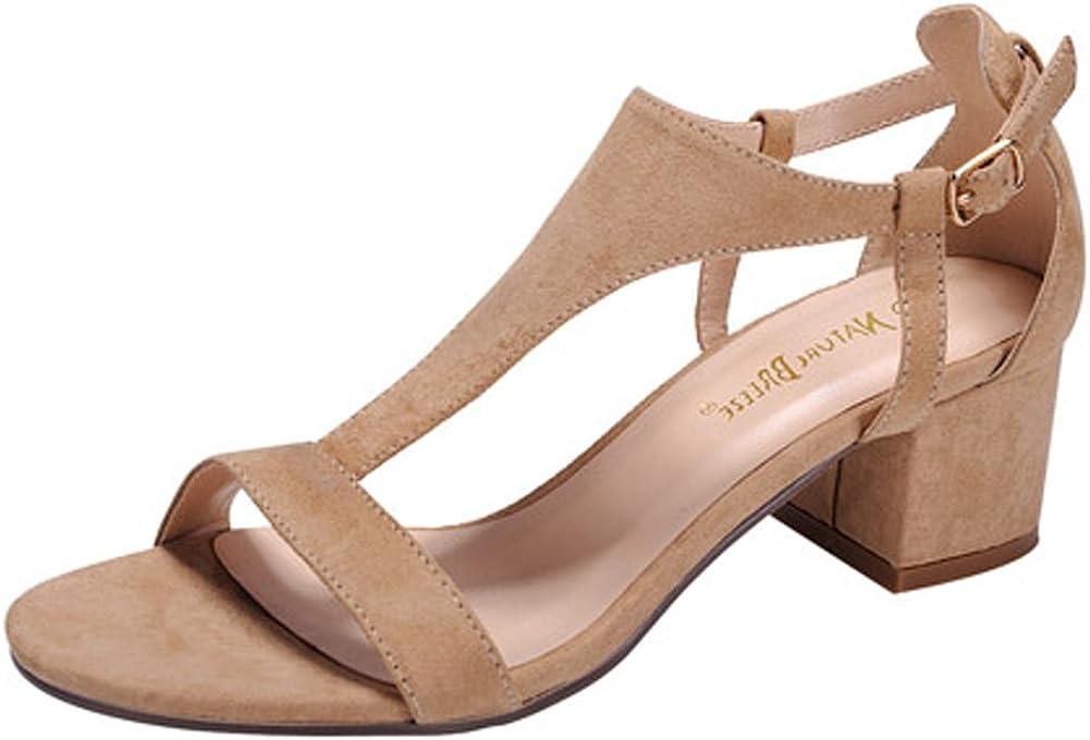 Nature Breeze - Women's T-Strap Cutout Side Block Heel Dress Sandals, Trendy Shoes 4 Her