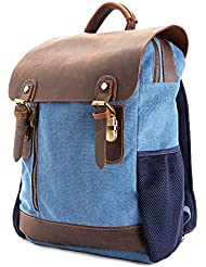 15.6 inch Canvas Leather Backpack,WalkingToSky Retro Canvas School Rucksack Backpack up to Laptop Bag, Travel...