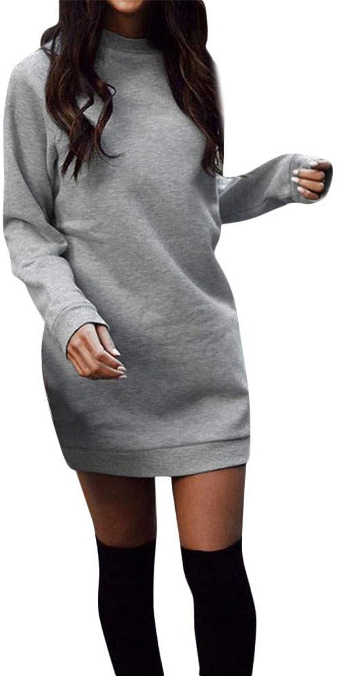 Pulloverkleid Damen Herbst Winter Knielang Mode Lang Festlich