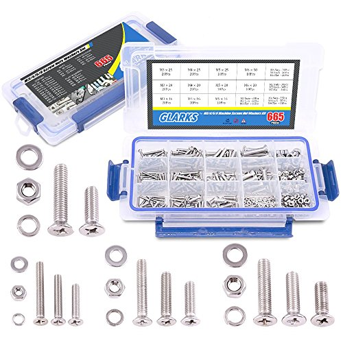 Glarks 665Pcs 304 Stainless Steel M3 M4 M5 M6 Phillips Flat Head Machine Screws Bolts Nuts and Flat Gasket Spring Washers Assortment Set, Full Thread - Head Nut Gasket