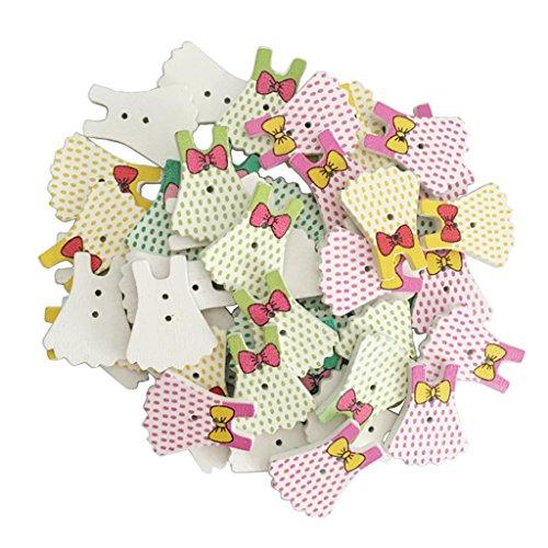Fityle 縫製ボタン 2穴 木製 ポルカドットドレス形 多機能 約50個の商品画像