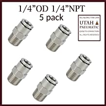 """Utah Pneumatic Push To Connect Fittings Nickel-Plated Brass Pc Male Straight 1/4""""Od 1/4""""Npt Thread Straight Connect Push Fit Fittings Tube Fittings Pneumatic Fittings 5 Pack (1/4od1/4npt Brass) 5 pack"""