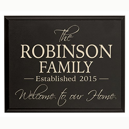 Established Year Signs, Custom Established Family Name Sign Welcome to Our Home Engraved with Family Name and Date Established By Dayspring Milestones (Black, 9x12) (Established Date Plaque)