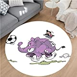 Nalahome Modern Flannel Microfiber Non-Slip Machine Washable Round Area Rug-ant Is Playing Soccer With A Kid Mario Moustache Sports Decor Football Print Purple White area rugs Home Decor-Round 67''