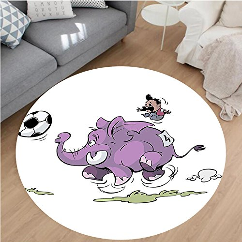 Nalahome Modern Flannel Microfiber Non-Slip Machine Washable Round Area Rug-ant Is Playing Soccer With A Kid Mario Moustache Sports Decor Football Print Purple White area rugs Home Decor-Round 75'' by Nalahome