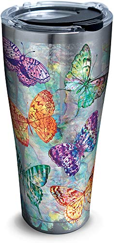Tervis 1316692 Butterfly Glow Stainless Steel Insulated Tumbler with Lid, 30 oz, Silver