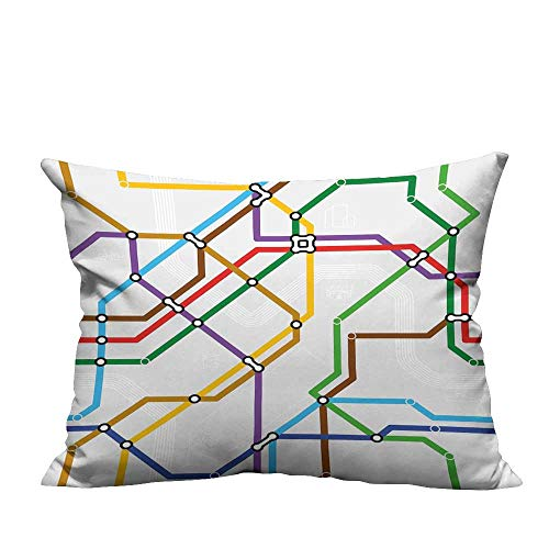 RuppertTextile Living Room Sofa Hug Pillowcase Stripes in Vibrant Colors Metro Scheme Subway Stations Abstract Railroad Transportation Anti-fadingW13 x L13
