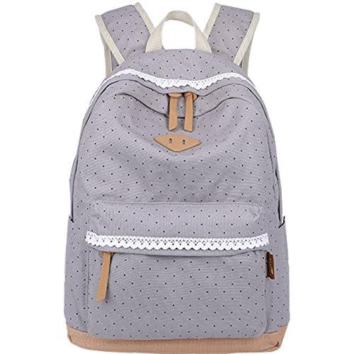 3bfbb18a1b1cb Mygreen Polka Dot Canvas School Backpack Bag
