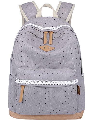 Mygreen Canvas School College Backpack/Bookbags for Girls/students/women Grey